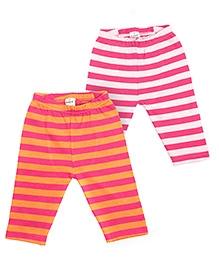 bio kid Full Length Stripe Leggings Set of 2 - Pink White
