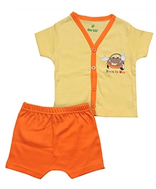 Bio Kid Half Sleeves Front Open Night Suit - Orange Yellow