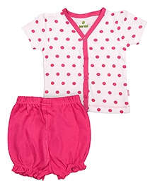 bio kid Half Sleeves Printed Top And Bloomer - Pink White