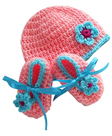 Bambino Hat and Booties - Pink And Blue