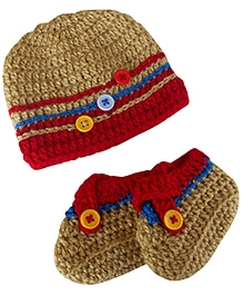 Cute as a Button Hat and Booties - Beige