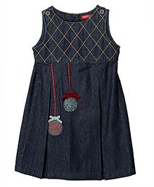 Beebay Embroidered Box Pleated Denim Dress - Blue