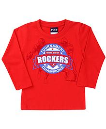 Little Kangaroo Full Sleeves T-Shirt Rockers Print - Red