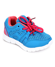 Cute Walk Sports Shoes Lace Tie Up - Blue And Light Red