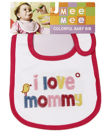 Mee Mee Baby Bib I Love Mommy Design - White Pink