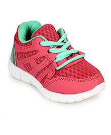 Cute Walk Sports Shoes Lace Tie Up Style - Pink Green