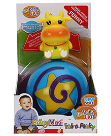 Cow Shape Roly Poly Musical Ball - Yellow Blue