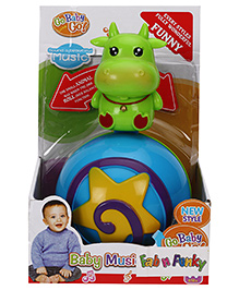 Cow Shape Roly Poly Musical Ball - Green Blue - 655376