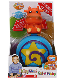 Cow Shape Roly Poly Musical Ball - Orange Blue