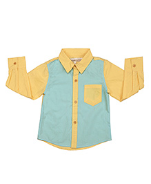 Yellow Blue Block Cotton Shirt