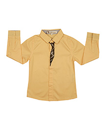 Yellow Cotton Shirt With Tie Print