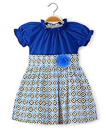 Ikat by Babyhug Printed Poplin Frock Floral Applique - Blue