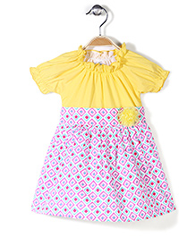 Ikat by Babyhug Printed Poplin Frock Floral Applique - Yellow
