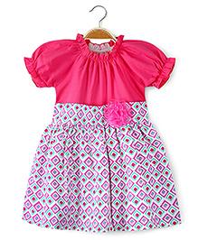 Ikat by Babyhug Printed Poplin Frock Floral Applique - Pink