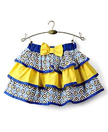 Ikat by Babyhug Printed Layered Skirt - Yellow And Blue