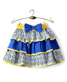Ikat by Babyhug Printed Layered Skirt - Blue And Yellow