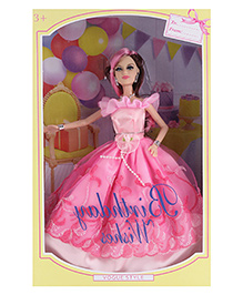 Doll With Floral Print Attire Birthday Theme Light Pink - Height 28 Cm