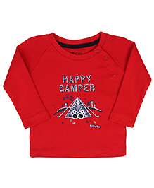 Gini & Jony Full Sleeves T-Shirt Happy Camper Print - Red