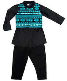 Twisha Dhoti Kurta & Jacket Set - Black