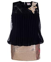 Chocopie Sleeveless Skirt Style Frock Sequin Work - Black Golden