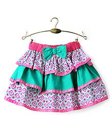 Ikat by Babyhug Printed Layered Skirt - Green And Pink