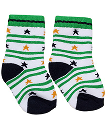 Cute Walk Ankle Length Socks Stripes And Stars Design - White And Green