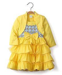 Ikat by Babyhug Embellished Neck Frock With Shrug - Yellow
