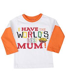 Babyhug Full Sleeves T-Shirt Caption Print - White Orange