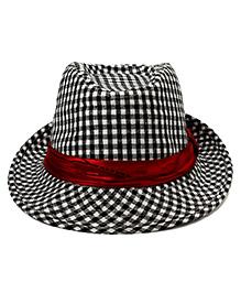Checkered Fedora Hat - Black & White
