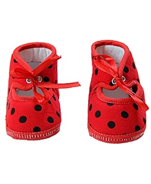 Morisons Baby Dreams Baby Booties Polka Dots - Red