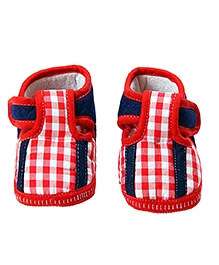 Morisons Baby Dreams Baby Booties Red Checks