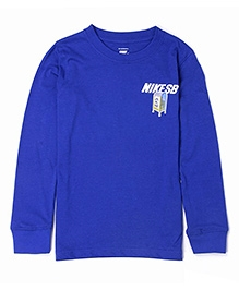 Nike Round Neck Solid Color T-Shirt - Blue