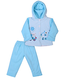 Babyhug Hooded Jacket And Pant Set With Car Patch - Blue
