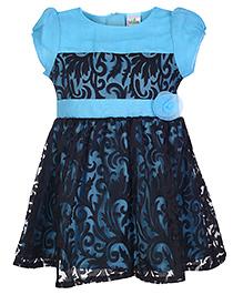 Babyhug Short Sleeves Frock Floral Applique - Blue