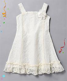 Babyhug Sleeveless Frock Floral Applique - Off White