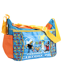 Johnny Bravo Messenger Bag Blue And Orange - Height 10 inches