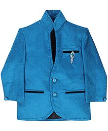 Babyhug Party Wear Blazer With Brooch On Pocket - Blue