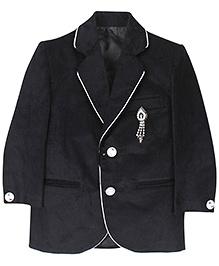 Babyhug Party Blazer With Brooch On Pocket - Black