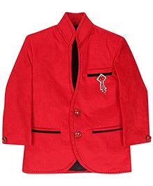 Babyhug Party Wear Blazer With Brooch On Pocket - Red