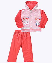 Babyhug Hooded Jacket And Pant Set With Cow & Hen Patch - Red