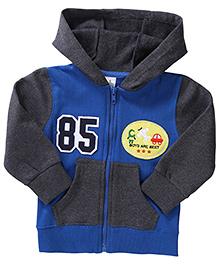 Babyhug Full Sleeves Sweat Jacket With Patch - Grey & Blue