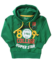 Little Darling Full Sleeves Hooded T-Shirt Caption Print - Green