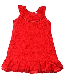 Campana Net A-Line Dress - Red