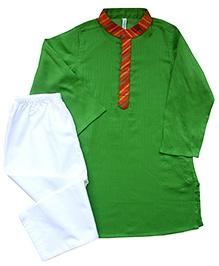 Campana Kurta Pyjama Set - Leaf Green White