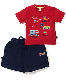 ToffyHouse Vehicle Embroidered T-Shirt And Shorts - Red