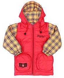 Babyhug Full Sleeves Jacket With Hood - Red