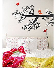 WallDesign Branch Of Life Right Corner Wall Sticker - Black