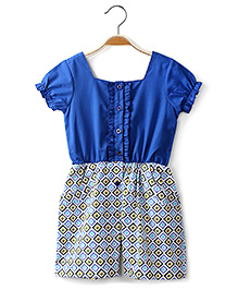 Ikat by Babyhug Short Sleeves Jumpsuit Contrast Pattern - Blue