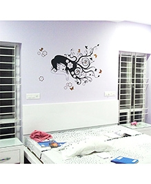 WallDesign Cute Girl Dreaming Wall Sticker - Black & Copper