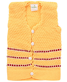 Babyhug Striped Button Up Sweater - Yellow